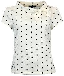 polkadot top fever garland retro sixties mod polka dot bow top in black