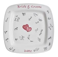 guest signing plate plate creative wedding guest book