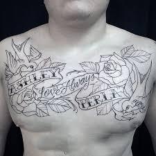 memorial mens upper chest banner tattoo designs upper chest