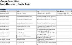 Goals And Objectives Template Excel Balanced Scorecard Template Cyberuse