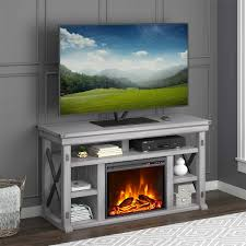wildwood rustic white 56 in tv stand with 23 in fireplace