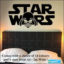 Large Wall Stickers Uk Large Starwars Bedroom Wall Sticker Art Logo With Darth Vader Head