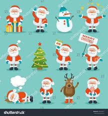 collection christmas santa claus merry christmas stock vector