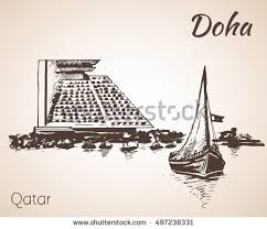 doha qatar city view sketch isolated stock vector 497238325