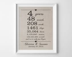 4 year wedding anniversary gift ideas for him 4 years together linen anniversary print 4th wedding