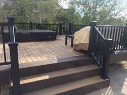 fire pit wood deck deck u0026 patio with tub and fire pit making a great outdoor