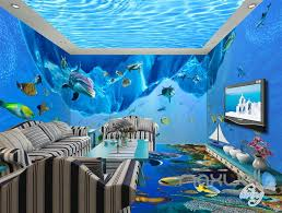 Ocean Wall Murals by 3d Dophin Fish Shoal Undersea Entire Living Room Wallpaper Wall