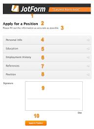 job application form 101 jotform