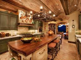 rustic kitchen photos cabinets around refrigerator brown floor l