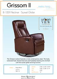 barcalounger grissom ii swivel glider recliner chair leather