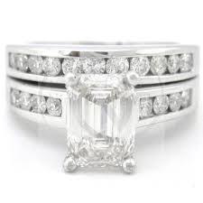 emerald cut wedding set emerald cut diamond engagement ring and matching band wedding set e14s