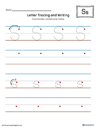 letter s tracing and writing printable worksheet color