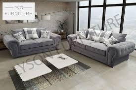Chesterfield Style Sofa by Chesterfield Style Corner Sofa Set 3 2 Seater Armchair Grey Fabric