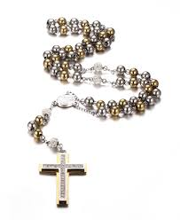 rosary chain necklace images 2018 bling gold plated stainless steel two tone rosary chain jpg