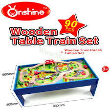 table top train set kid gift educational pretend toy wooden table top free standing