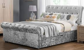 Verona Bed Frame Verona Crushed Velvet Sleigh Bed With Storage Drawers Sleepland Beds