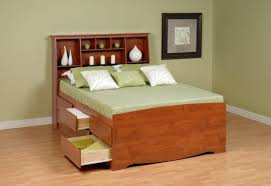 bedroom queen size platform bed with storage drawers and