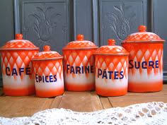 enamel kitchen canisters details about estate old blue white graniteware enamelware