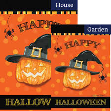halloween house flags witch pumpkin happy halloween flags set 2 pieces happy