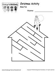 kindergarten santa maze activity worksheet printable