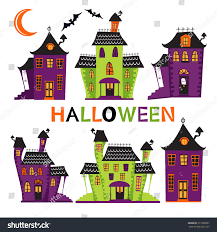 halloween haunted houses collection vector format stock vector