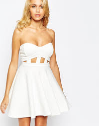 boohoo white cutout strapless prom dress in white lyst