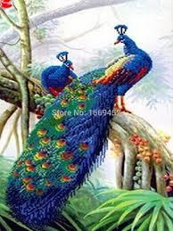 peacocks home decor animals birds series two blue font b peacock b font 5d diy cross