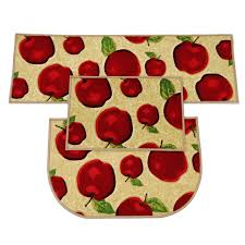 Apple Kitchen Rugs 3 Pcs 2pcs 1pcs Rubber Backing Non Slip Apple Kitchen Rug And
