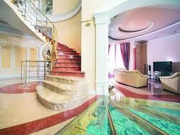 interior house decoration idea with glass floor and pattern