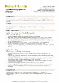Marketing Manager Resume Sample Pdf by Digital Marketing Specialist Resume Example Contegri Com