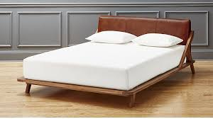 bed head board drommen acacia bed with leather headboard cb2