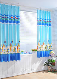 blue animal cute discount contemporary short curtains
