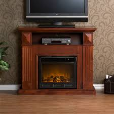 furniture brown polished solid wooden fireplace tv stand console