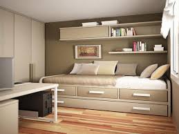 Cabinet Bed Frame Small Bedroom Decor Ideas Brown Laminated Bed Frame Bedside Table
