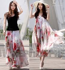 summer dresses women ladies chiffon strapless long skirts floral