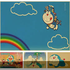 wallpaper doraemon the movie retro cartoon movie poster doraemon brown paper decorative painting