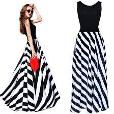 women summer striped boho evening party long maxi beach dress