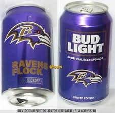 bud light beer can 2017 nfl kickoff baltimore ravens bud light beer can football