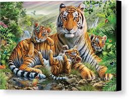 tiger and cubs canvas print canvas by adrian chesterman