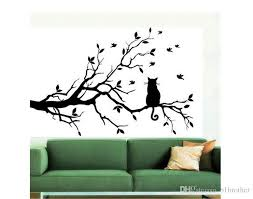 wholesale cat on tree branch diy vinyl wall sticker decals