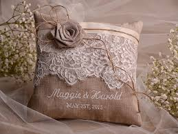 lace wedding pillow ring bearer pillow embroidery names shabby