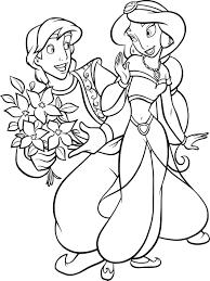 Coloriage Prince Aladdin et Princesse Jasmine à imprimer sur