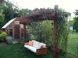 teak couch made into a pergola swing for the yard pinterest