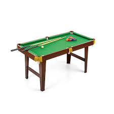 pot break wooden pool table with 2 cues balls triangle brush