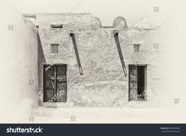 Adobe House Sepia View Inner Courtyard Traditional Old Stock Photo 575954989