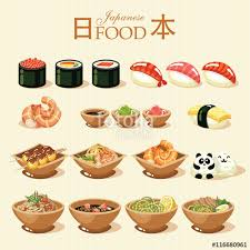 word for cuisine japanese food set in vintage style japanese cuisine word