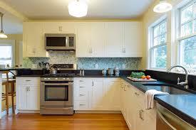 Green Backsplash Kitchen Decorative Green Backsplash And White Cabinets With Black