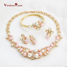pink pearl gold necklace images 2018 westernrain fashion pink pearls costume jewelry ladies jpg