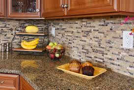 small kitchen design using brown cream stone tile kitchen
