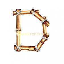 bamboo letter d 2d uppercase material bamboo natural cord